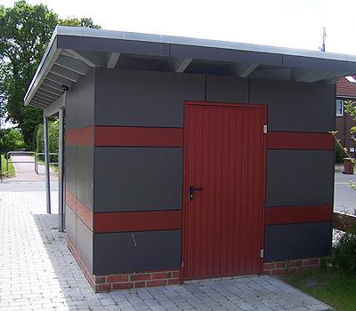 Carport mit Eternitplatten farbig
